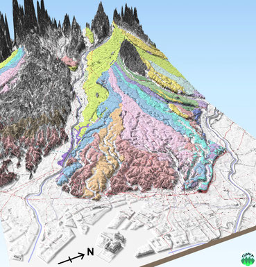 図8 3Dで見る武蔵野台地の地形-東方から青梅方面を俯瞰- [本図の作成には国土地理院長の承認を得て同院の基盤地図情報を使用した(承認番号 令元情使 第660号)]