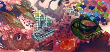 Coffe Time. Pigmento mineral, 32x76 cm, 2004. Colección Privada.