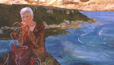 Recuerdo de Mabuni (摩文仁の覚え Mabuni no Oboe). Pigmento mineral,  91x155 cm, 2002.  Colección privada.