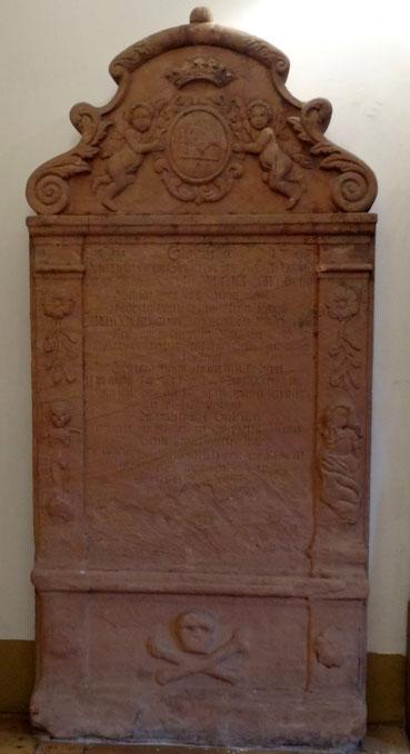 Grabstein von Georg Melchior Langsdorff (1713-1767), Rentmeister auf der Saline Nauheim, Foto: Thomas Schwab