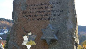 Die Gedenkstele auf dem Jüdischen Friedhof in Attendorn