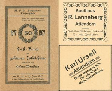 Ausschnitt aus einer Festschrift aus dem Jahr 1927.