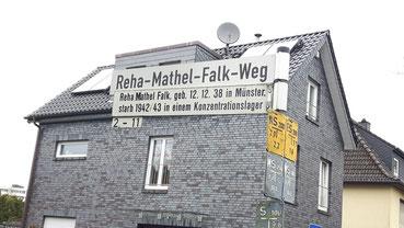 Straßenschild Reha-Mathel-Falk-Weg in Münster
