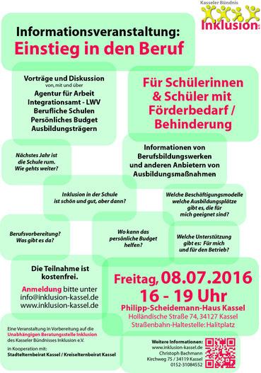 """Handzettel zur Veranstaltung """"Einstieg in den Beruf"""" am 08.07.2016"""