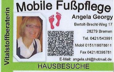 Mobile Fußpflege Angela Georgy  Bertolt-Brecht-Weg 17  28279 Bremen  Tel. 0421-5439 91  Mobil: 0151-19078611