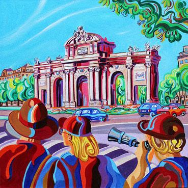 PUERTA DE ALCALA (MADRID).Huile sur toile. 60 x60 x 3,5 cm.