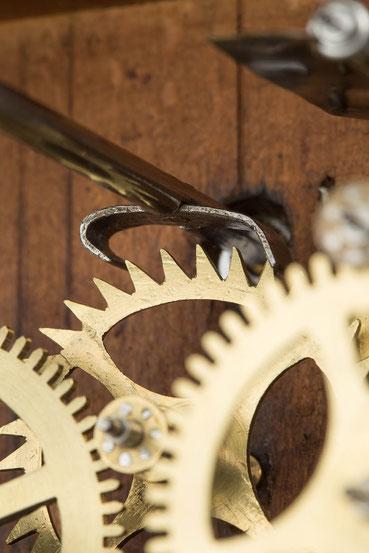 Detail Schwarzwälder Blechanker im Eingriff mit dem Steigrad