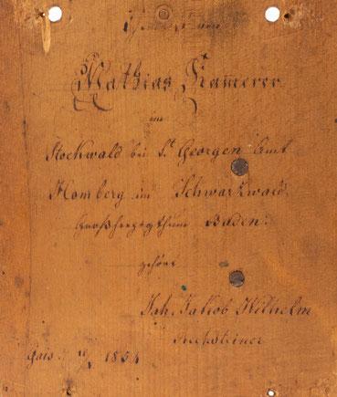 Lackschilduhr mit Schlossscheibenrepetition, Mathias Kammerer, Stockwald 1854, Signatur