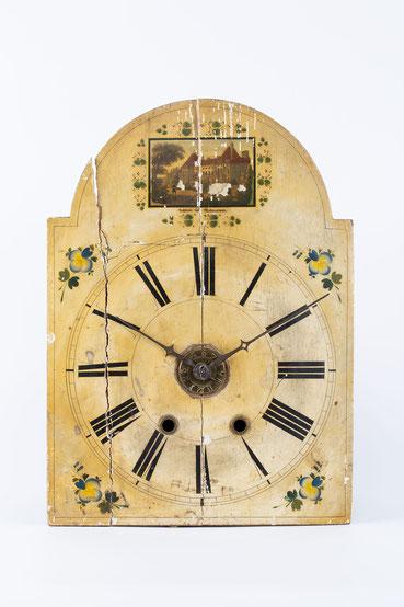 Lackschilduhr mit Schlossscheibenrepetition, Mathias Kammerer, Stockwald 1854