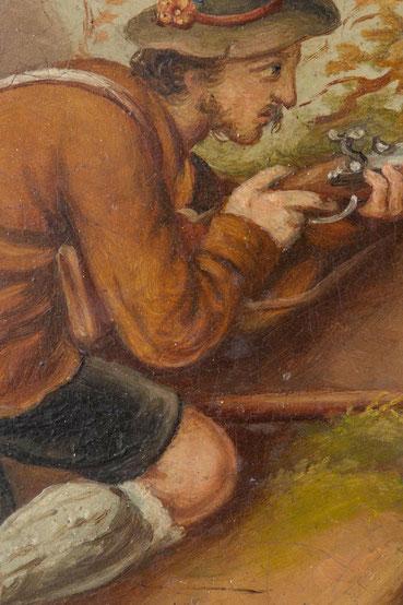 Detail des Uhrenschildes,  der Gemsenjäger