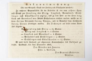 Bekanntmachung bezüglich der Poststraße von Freiburg nach Schaffhausen, 1812
