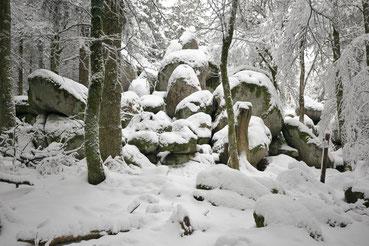 Die Günterfelsen bei Furtwangen im Winter
