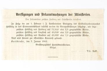 Bekanntmachung bezüglich der Poststraße von Freiburg nach Schaffhausen, 1862