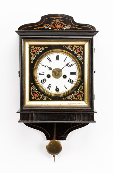 Schwarzwälder Kasten Uhr mit Wecker, Winterhalder und Hofmeier, Schwärzenbach um 1870