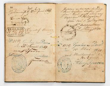 Wanderbuch des Uhrmachergesellen Georg Bilharz von 1849 bis 1851, Kenzingen im Großherzogtum Baden, Seite 14-15