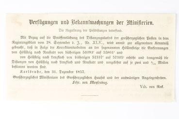 Bekanntmachung bezüglich der Poststraßen, 1857