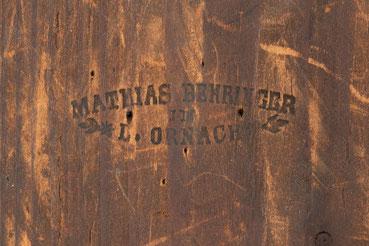 Signatur von Uhrmacher Mathias Behringer, Langenordnach im Schwarzwald um 1865