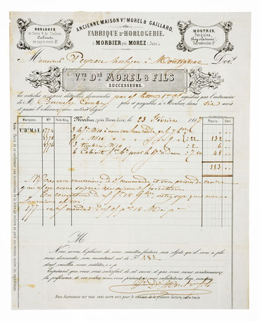 Bief von Morel & Fils, Horloger á Morbier 27.02.1867