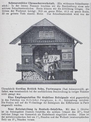 Schwarzwälder Uhrmacherwerkstatt aus: Allgemeines Journal der Uhrmacherkunst, 1913