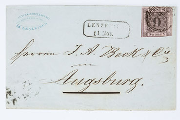 """Brief der """"Aktiengesellschaft für Uhrenfabrikation in Lenzkirch"""" vom 11.11.1854"""