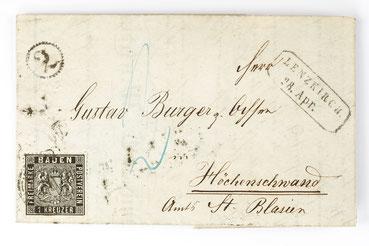 Brief von Lenzkirch nach Höchenschwand mit der neuen 1 Kreuzer Marke von 1860