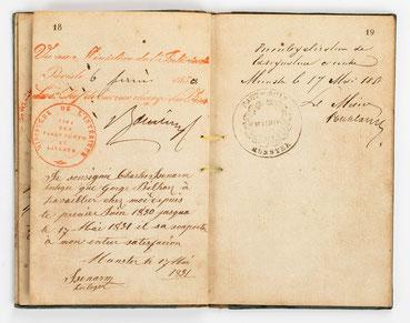 Wanderbuch des Uhrmachergesellen Georg Bilharz von 1849 bis 1851, Kenzingen im Großherzogtum Baden, Seite 18-19