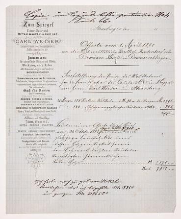 """Geschäftsbrief der Metallwaren-Handlung """"Carl Weiser"""" in Straßburg vom 1. April 1890"""