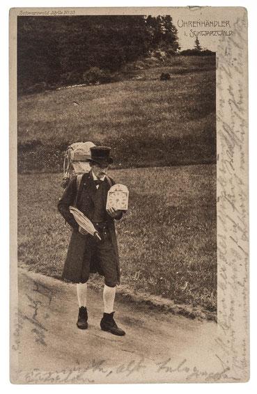Uhrenhändler im Schwarzwald, Postkarte mit Poststempel vom 13. März 1907