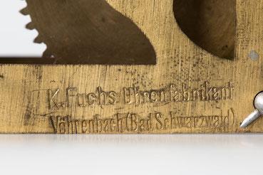 Signatur des Uhrmacher K. Fuchs aus Vöhrenbach