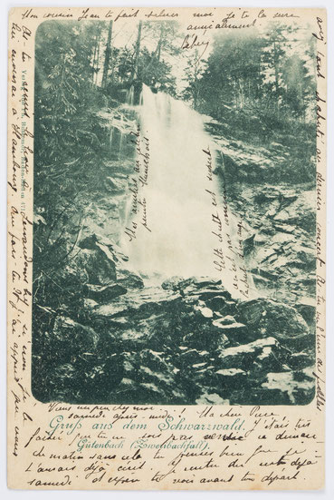 Zweribachwasserfall, Postkarte, Poststempel vom 06.08.1901