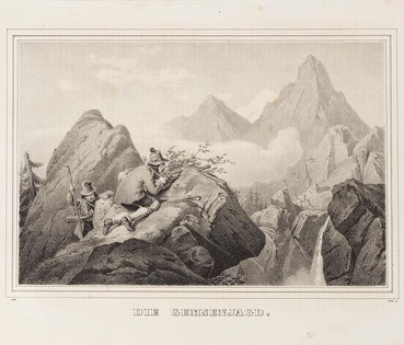 Die Gemsenjagd, Lithographie um 1850