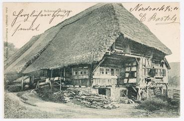 Postkarte Schwarzwälder Bauernhaus, Poststempel: 1.05.1900