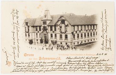 Postkate der Großherzoglichen Uhrmacherschule Furtwangen mit dem 1891 fertiggestellen neuen Schulgebäude (gelaufen 24.01.1898)