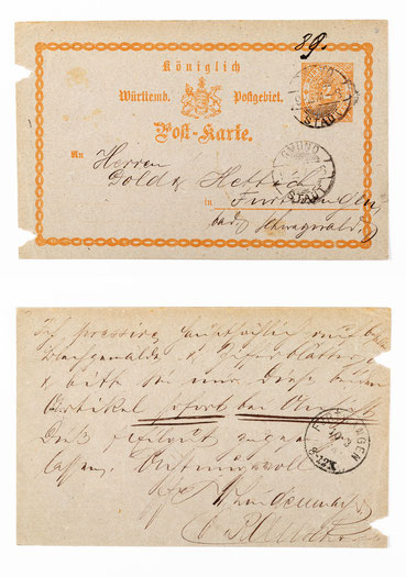 Postkarte vom 10.03.1874 an die Blechlakierfabrik Dold & Hettich in Furtwangen