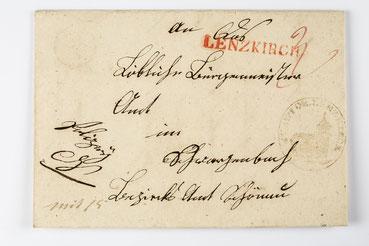 Brief von Lenzkirch nach Schwarzenbach 1848 mit rotem Lenzkirchstempel und Ortssiegel