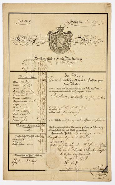 Reisepass des Großherzogtum Badens für den Handel mit Schwarzwälder Uhren in Frankreich, Freiburg 1828