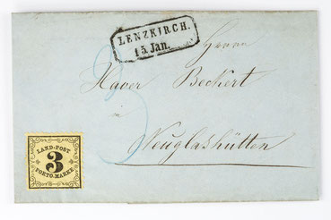 Lanpostbrief von Lenzkirch nach Altglashütte 1864