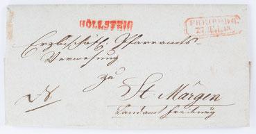 Brief des Erzbischöflichen Ordinariat Freiburg an die Erzbischöfliche Pfarramtsverwaltung zu St. Märgen, von Freiburg über Höllsteig nach St. Märgen, 27. Februar 1849