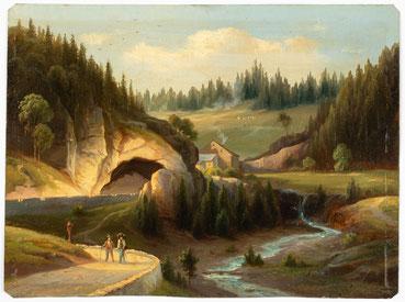 Ölgemälde auf Blech, Gütenbach im Schwarzwald, Tunnel an der neuen Kilpenstaße, um 1860