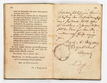 Wanderbuch des Uhrmachergesellen Georg Bilharz von 1849 bis 1851, Kenzingen im Großherzogtum Baden, Seite 10-11