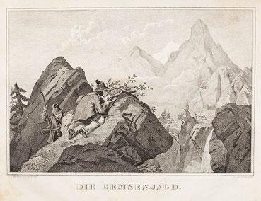 Die Gemsenjagd aus Erinnerungen 1851, Lithograpie von F. Zelmaka