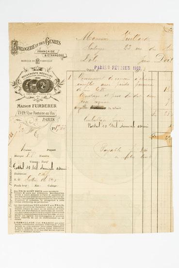 Rechnung von Maison Furderer, Paris 1903