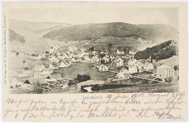 Lenzkirch mit Uhrenfrabrik, Postkarte vom 29.07.1902