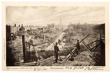 Fotopostkarte mit der Ansicht Strassburgs am 03.10.1870