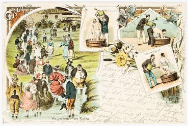 Postkarte aus Triberg vom 14. September 1897, Wassertreten im Bache