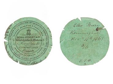 Beha Lickert & Co, Reparaturpapier für eine Taschenuhr, Norwich 1861
