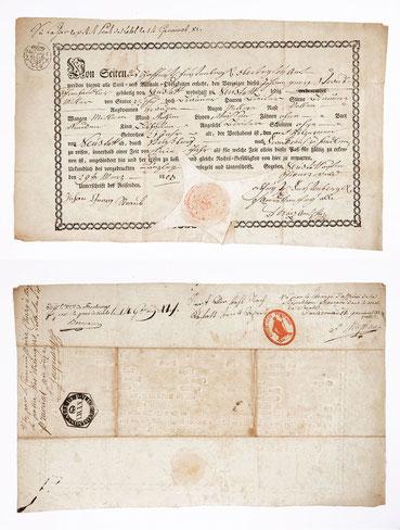 Hochfürstlich Fürstenbergischer Reisepass eines Schwarzwälder Uhrenträgers, Neustadt 1803, für den Uhrenhandel nach Frankreich ausgestellt