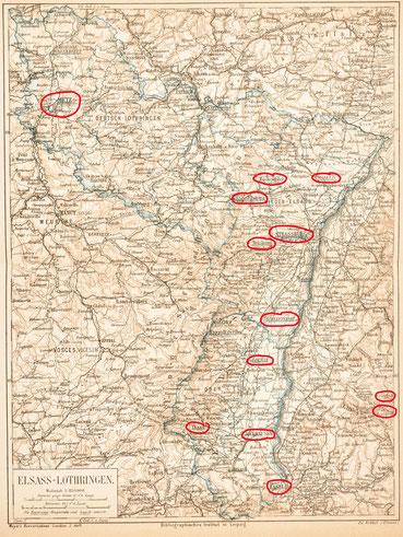 Karte von Elsass-Lothrigen, aus Mayer`s Konversationslexikon 3. Auflage, um 1874