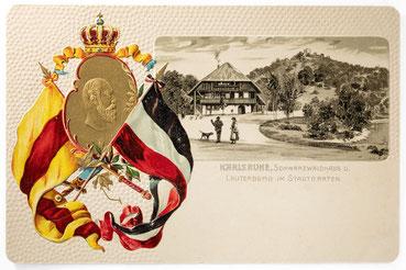 Schwarzwaldhaus im Stadtgarten, Postkarte ungelaufen, Karlsruhe um 1900