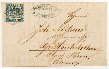 Brief von Ph. Haas & Söhne Uhrenfabrik in St. Georgen im Schwarzwald vom 16. Februar 1870